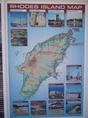 Eden Roc Resort Hotel & Bungalows: Carte de l'ile de rhodes