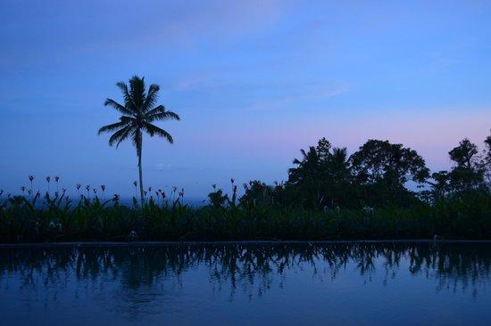 Hotel Batukaru: coucher de soleil au pied de la piscine