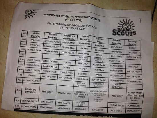 Grand Bahia Principe Punta Cana: Kids activities calendar