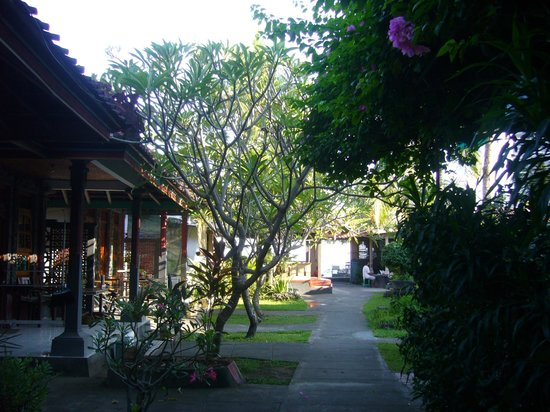 Gede Homestay: The way from the rooms to the warung + beach