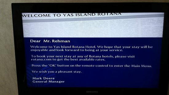 Yas Island Rotana: Welcome to the room !!!