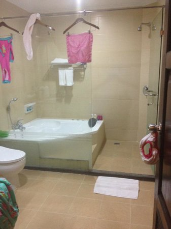 Pelangi Bali Hotel: Super deluxe bathroom. Clothing hooks or clothes line would have been very handy.