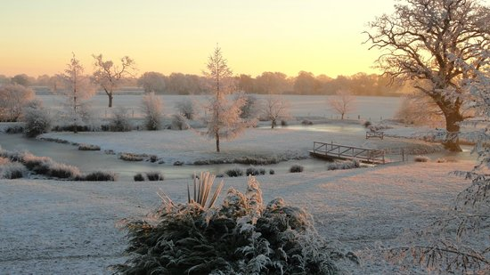 Wem, UK: The moat: frosty morning