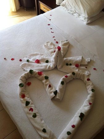 Dalyan Tezcan Hotel: Towels arranged in heart shape by cleaners - impressed as we are a gay couple