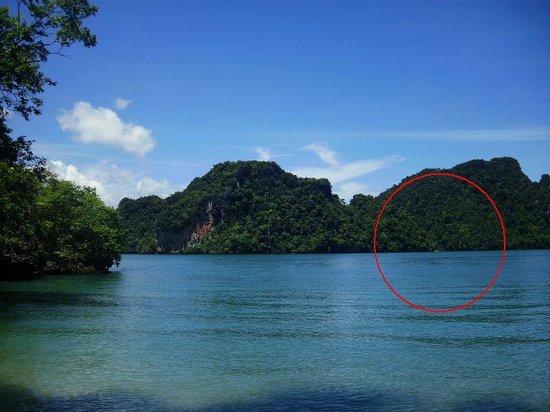 Gap between the two largest limestone pillars at Koh Kudu hidden lagoon - Pic...