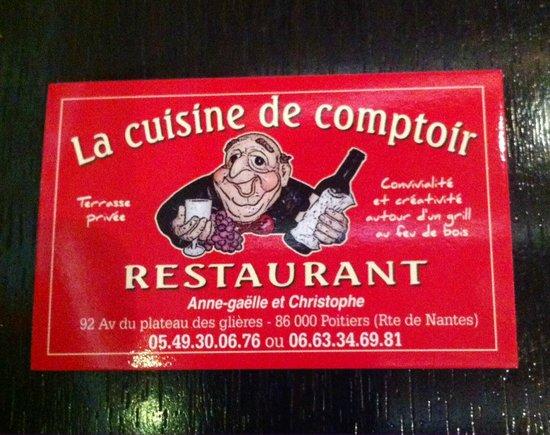 La Cuisine De Comptoir Carte Visite