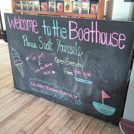 The Boathouse: Cheerful sign after you have entered