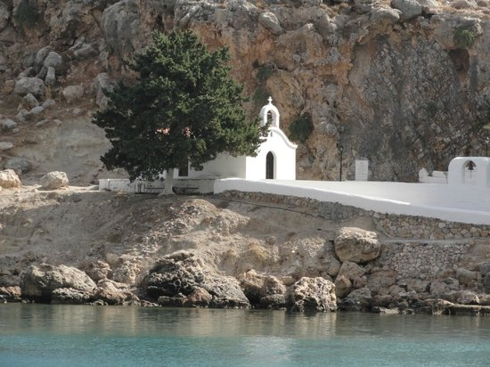St Pauls Bay: most beautiful little church overlooking St Paul's Bay Lindos