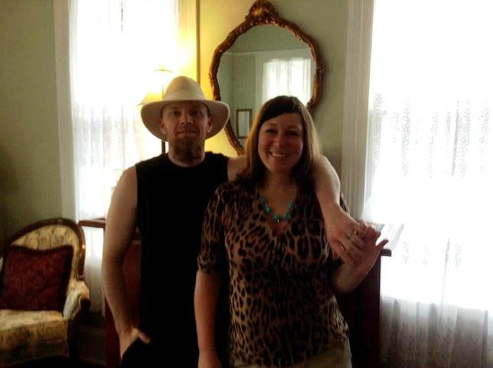 Salon good-byes with smiles - Sean and Cara at Victorian House B&B in St. Augustine, Florida