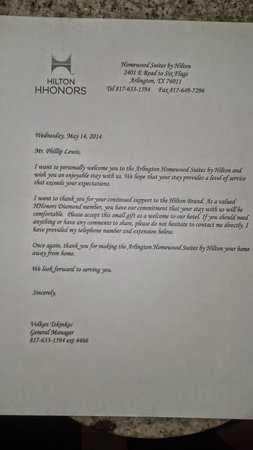 Homewood Suites by Hilton Dallas-Arlington : Personal Letter