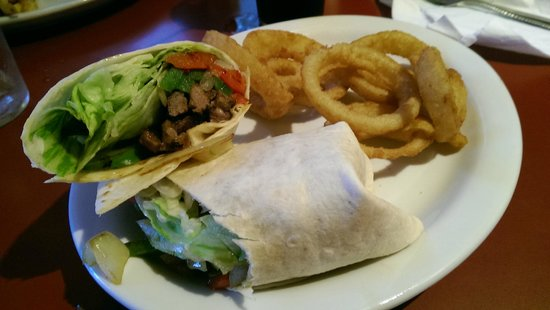 The Village Cafe: Grill Steak wrap with onion rings