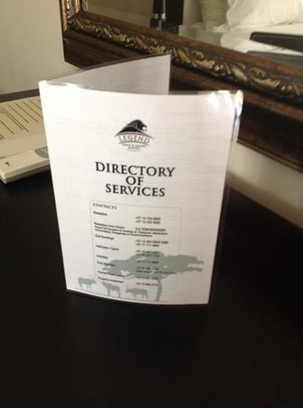 Legend Golf and Safari Resort: room folder. not 5 star at all