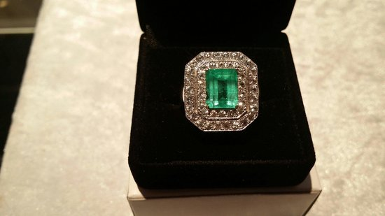 Whitsunday Opals: Custom made emerald and white sapphire ladies ring
