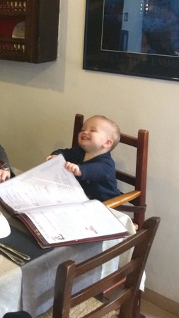 La Ribote : Charlie Wharton (aged 13 months) helping choose Mummy and Daddy's pancakes so he could help eat