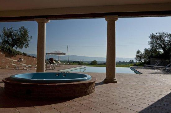 Locanda Poggioleone: Idromassaggio e piscina vista lago