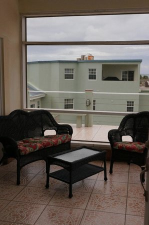 The Landings at Tres Cocos: Screened section of the sundeck on the top floor of A3 (unit A6 in background)