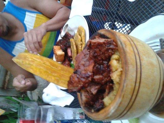 La Estacion: mofongo relleno de churrasco/smashed plantain stuffed with skirt steak