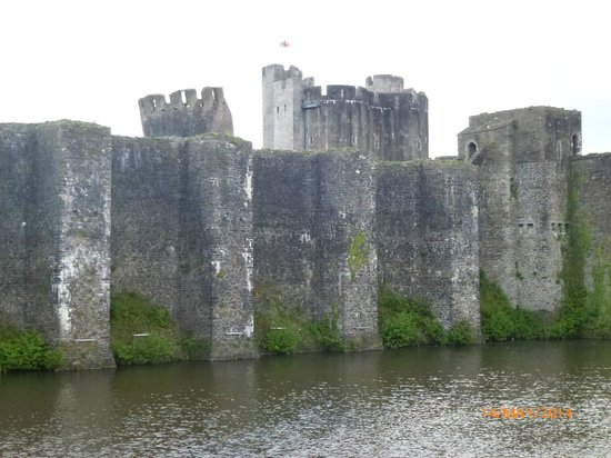 Caerphilly Castle: View from the moat