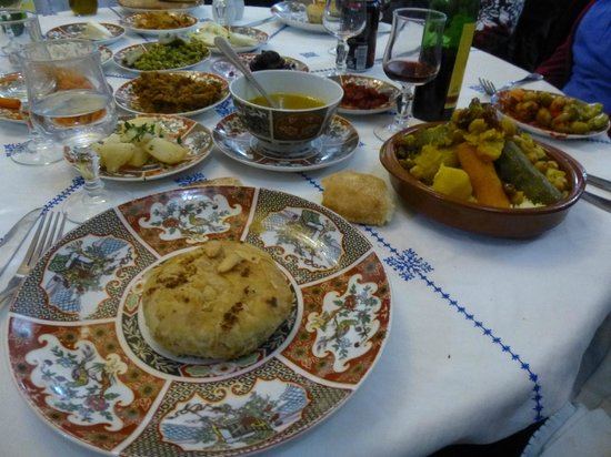 Restaurant dar hatim: Pistillia (Chicken Pie) and beef /vegie targine on couscous