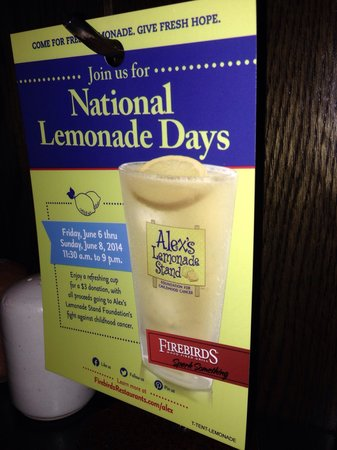 Firebirds Wood Fired Grill: National lemonade days