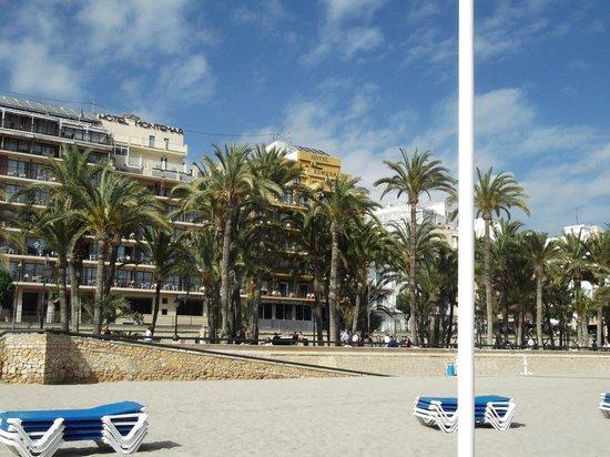 Esmeralda Beach Hotel : on beach looking back at hotel.