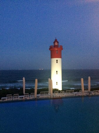 The Oyster Box: The popular Lighthouse. View as we were having dinner.