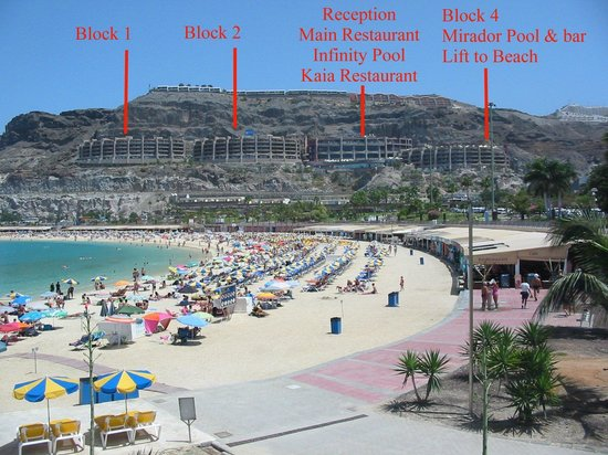 Gloria Palace Royal Hotel & Spa : Hotel from beach with blocks labelled