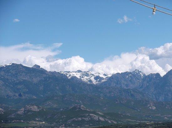 Citadelle de Calvi : Snow on the mountains in the distance