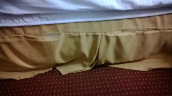 Best Western Plus Sandusky Hotel & Suites: Bed skirt too large and coming apart at the seams.