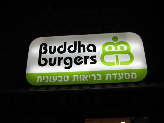 Buddha Burgers Haifa: Easy to find sign