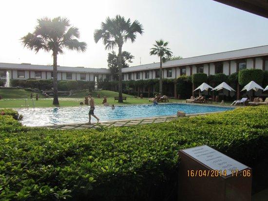 Trident, Agra: Zona ajardinada y piscina