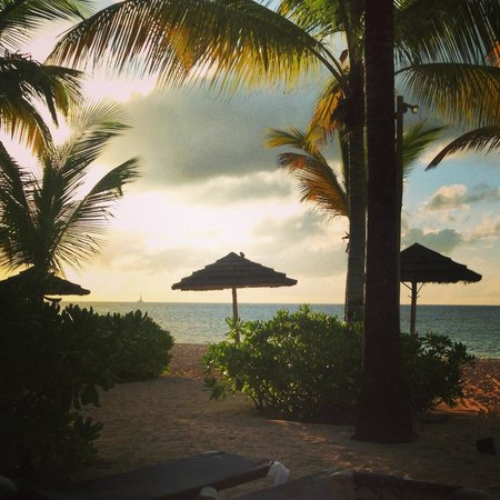 Galley Bay Resort: Sunset from our patio in a premium beachfront suite