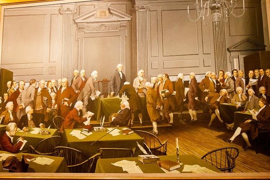 Independence Hall : Painting of the signing of the Constitution