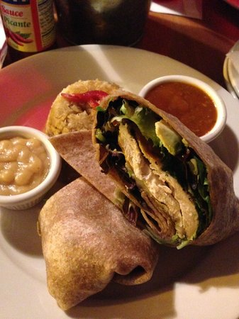 Mojito Cafe: Pollo Asado Wrap with a side of mufongo