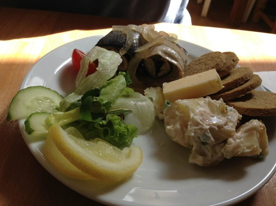 The Real Food Cafe and Restaurant: roll mop herring with oatcakes