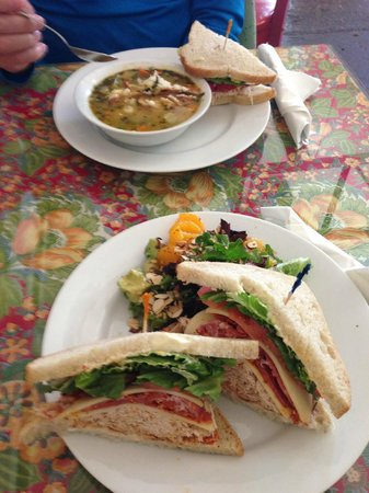 Simply Delicious Cafe Daily Fare : Club sandwich with orange almond salad.  Turkey and bowl Posole