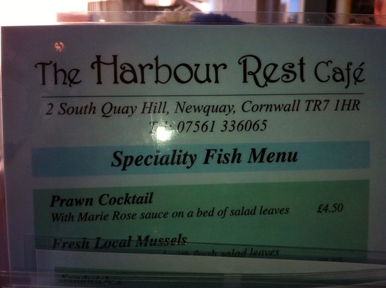 Harbour Rest Cafe: Menu