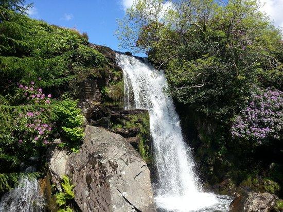 Ffestiniog & Welsh Highland Railways: Waterfall seen from the Ffestiniog Railway