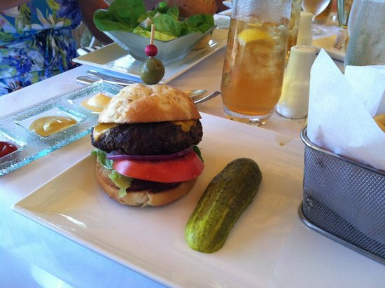 The Dining Room at Little Palm Island: The 3/4 lb hamburger w fries.