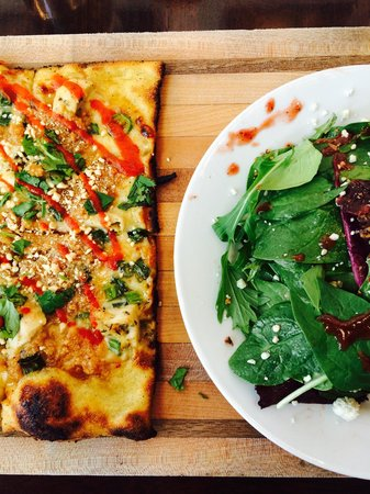 Fire Artisan Pizza: Thai pizza with a gourmet side salad