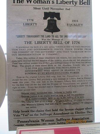 Liberty Bell Center: un symbole pour les partisans du droit de vote des femmes
