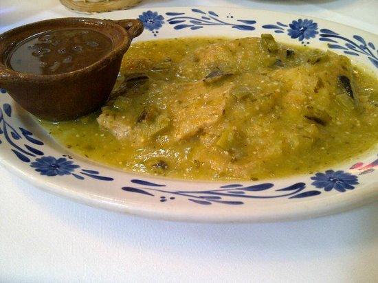 Restaurante Antiguo San Angel Inn : chicharrones with unfortunate addition of green tomato sauce