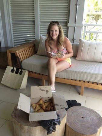 The St. Regis Mauritius Resort : Box of homemade somosas given to us by a local. The people of Mauritius are SO nice.