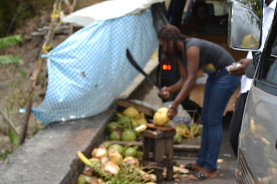 Fabian Tours: Local selling fresh coconuts.