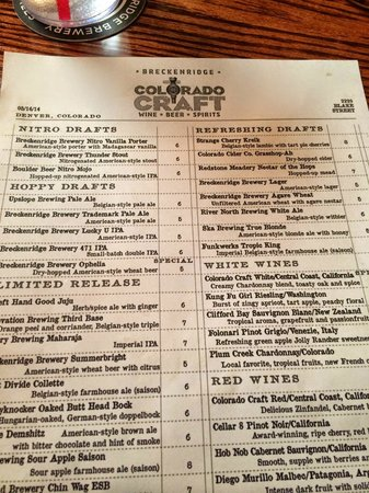 Breckenridge Brewery: drink menu