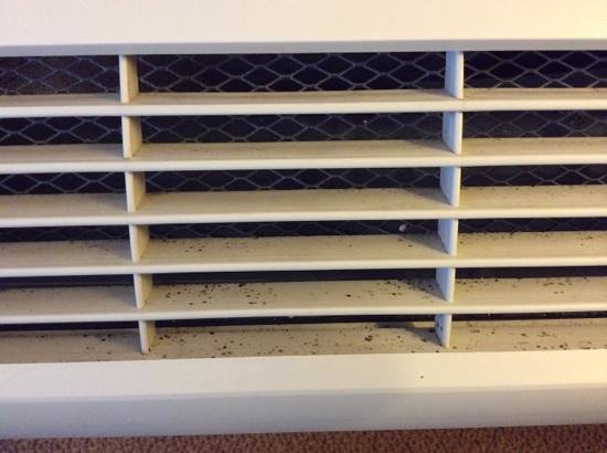 Country Inn & Suites By Carlson, Lincoln Airport: thick black spots of mold on the air conditioning unit.