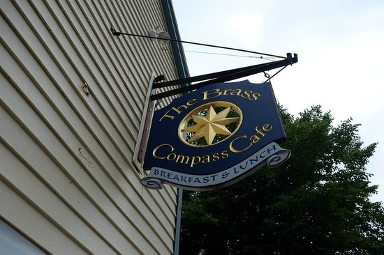 Brass Compass Cafe : Signage on Main Street Rockland