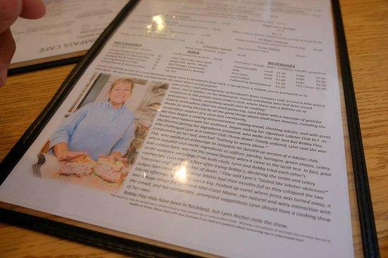 Brass Compass Cafe: Chef's photo and menu description