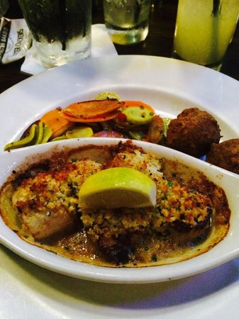 Cityfish: Parmesan crusted pan seared day boat scallops Pic by Keisha Brooks-Allen