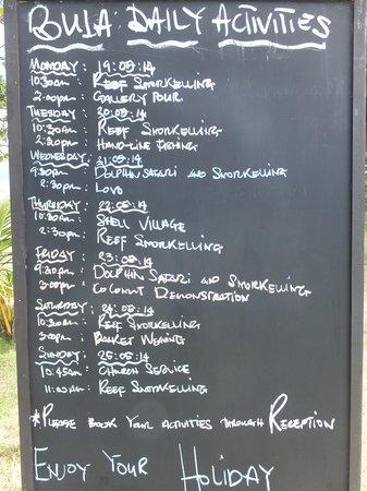 Lomani Island Resort: Activity board